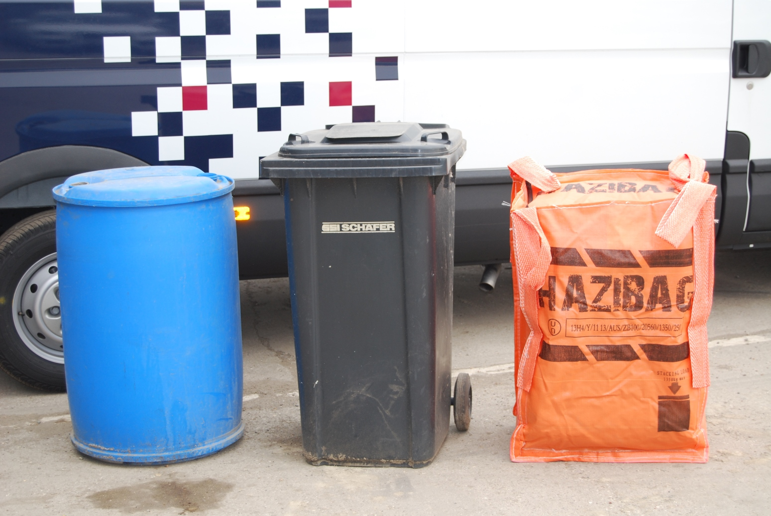 200 litre Hazibag next to drum and wheeled container
